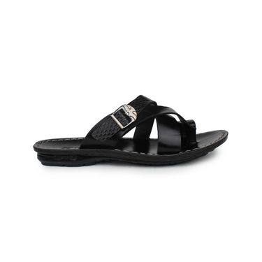 Columbus Synthetic Leather Black Sandals -2601