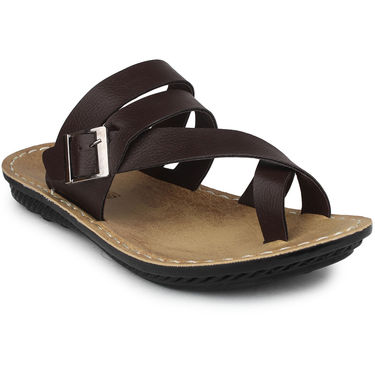 Columbus Synthetic Leather Brown Sandals -2701
