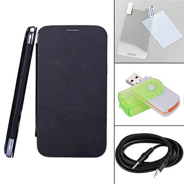 Combo of Camphor Flip Cover (Black) + Screen Protector for Micromax A200 + Aux Cable + Multi Card Reader