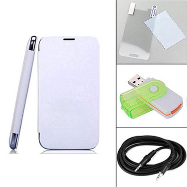 Combo of Camphor Flip Cover (White) + Screen Protector for Gionee E5 + Aux Cable + Multi Card Reader