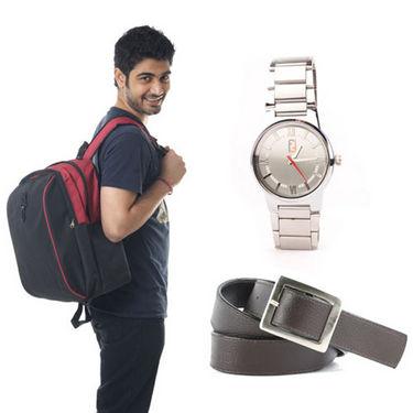 Combo of Fidato Backpack - Black + Belt + Wrist Watch-3524