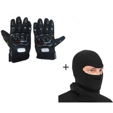 Combo of Pro-Biker Gloves + Face Mask