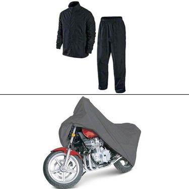 Rainy Day Combo - Universal Size Bike Body Cover With Side Mirror + Rain Coat-AF-17615