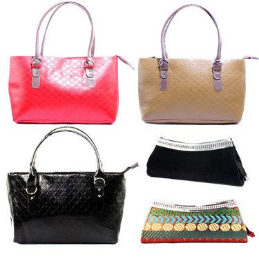 Combo of 3 Handbag + 2 Clutch For Women