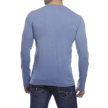Delhi Seven Full Sleeves Round Neck Cotton T Shirt For Men - Royal Blue