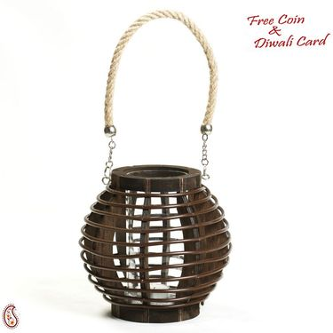 Brown Basket Design Lantern Tealight Holder with a Rope handle