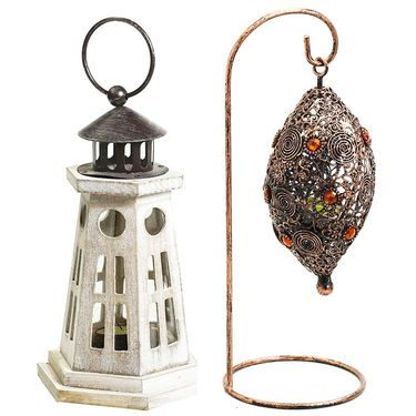 Combo of Light House Designed lantern & Bird Nest Tealight Holder-DCH1403_TLT1421