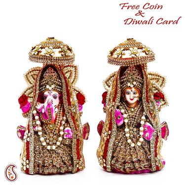 Aapno Rajasthan Multicolor Stone Studded Laxmi Ganesh for Diwali