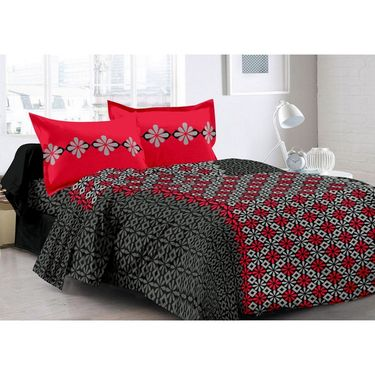 Valtellina 100% Cotton Double Bedsheet with 2 Pillow Cover-3021-A