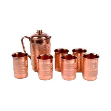 Copper Fame Jug With Lid & Set of 6pcs Glass Set_DLB-002