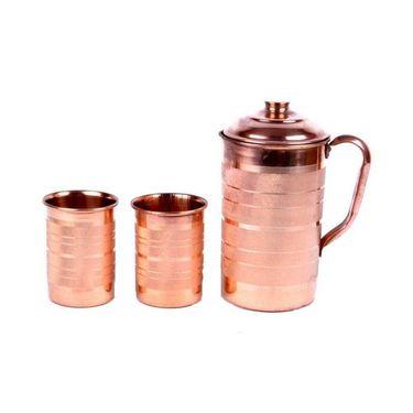 Copper Fame Jug with Lid &Set of 2pcs Glass Set_DLB-003