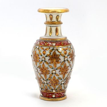 Little India Jaipuri Gold Painting Meenakari Marble Flower Vase 372