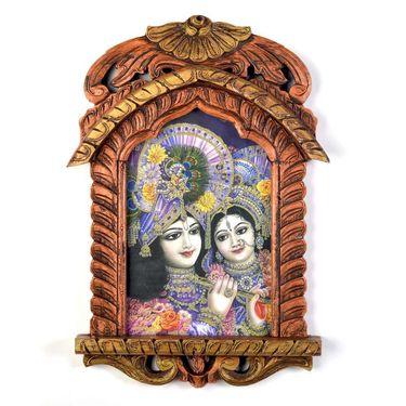 Little India Lord Saral Bihari n Radha Wooden Jharokha Painting 392