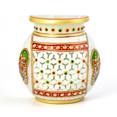 Little India Golden Meenakari Jali Cut Work Hanging Flower Vase 400