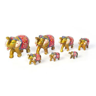 Little India Handcrafted Paper Mache 7 Piece Gold Elephant Set 414