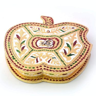 Little India Golden Meenakari Work Apple Design Dryfruit Box 424