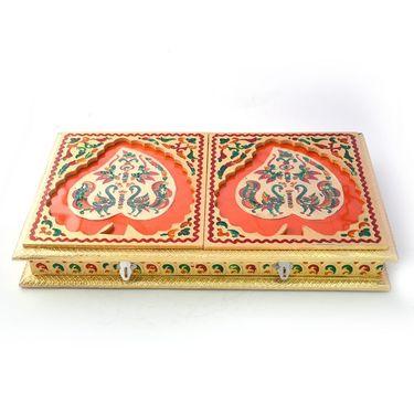 Little India Golden Meenakari Dancing Peacock Pair Dryfruit Box 433