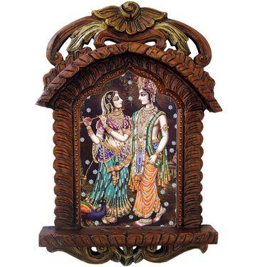 Little India Radha Krishna Playing Flute Wooden Jharokha Gift 437