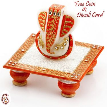 Marvel In Marble - Gold Embossed Lord Ganesh With Chowki_51