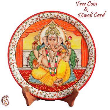 Marble Ganesh mounted on Lotus pillar