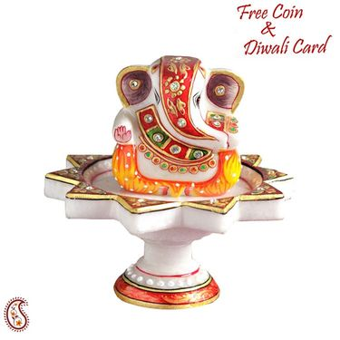 Hand Painted Ganeshji on a White Marble Aarti Thali
