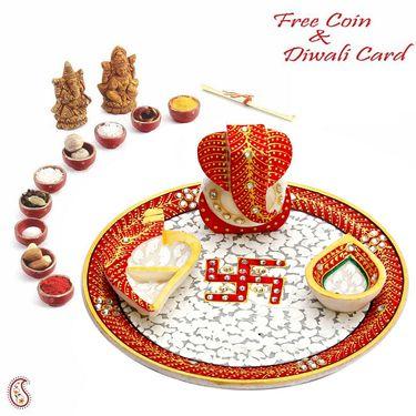 Aapno Rajasthan Marble Pooja Thali with Diya, Chopra & Ganesh Figurine
