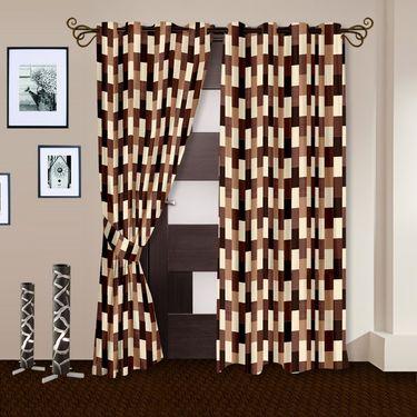 Story @ Home Brown 2 pc Door curtain-7 feet-DNR3051