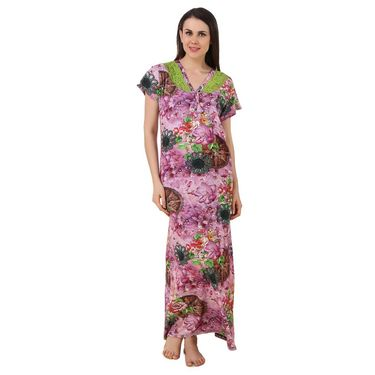 Fasense Shinker Cotton Floral Print Long Nighty -DP186A2