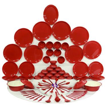 Kitchen Duniya Round Dinner Set 80 Pcs-Blossom Red