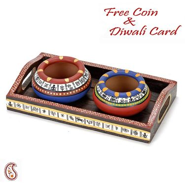 Set of 2 Hand painted Terracotta Pots with Dry fruits and Tray