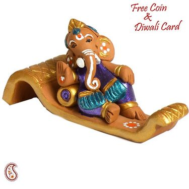 Aapno Rajasthan Multicolor Terracotta Panchmukhi Standing Ganesh Showpiece