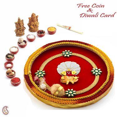 Enticing Red & Yellow Hues Diwali Pooja Thali