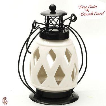 Aapno Rajasthan Diamond Cut Pure White Ceramic Wind Lantern Tea Light Holder