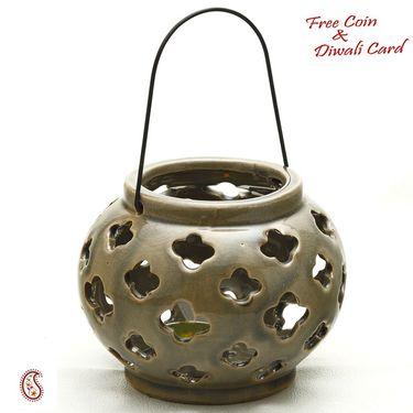 Aapno Rajasthan Taupe Ceramic Tea light Lantern Shade with Floral Cut