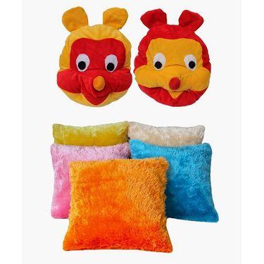 Dekor World Kids Multi Combo. Cushion Cover(Pack of 7 Pcs)-DWCB-159