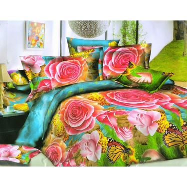 Set of 6 Floral 3D Printed Bedsheet  with 12 Pillow Covers-DWCB-464_63_65_69_68_66