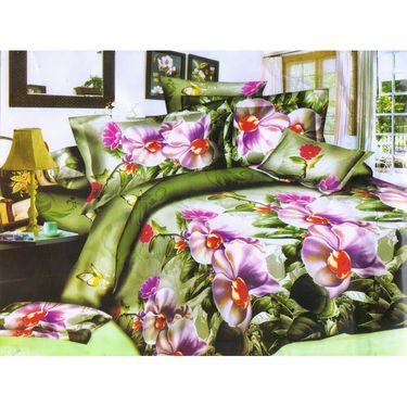 Set of 6 Floral 3D Printed Bedsheet  with 12 Pillow Covers-DWCB-494_91_87_88_28_26