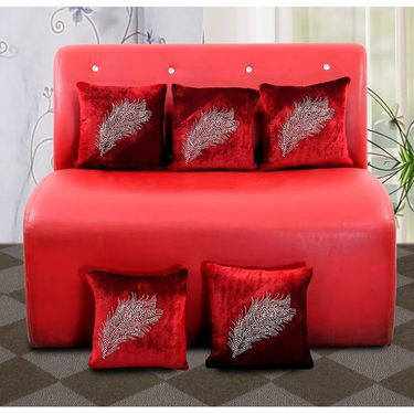 Dekor World studded Leaf Cushion Cover (Pack of 5)-DWCC-12-147-5
