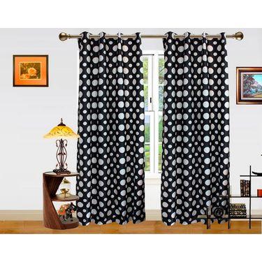 DEKOR WORLD BLACK DOT  EYELET Window Curtain 2 SET-DWCT-297-5