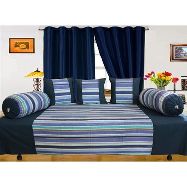 Dekor World Multi Stripe Diwan Set-Pack of 6 Pcs-DWDS-0105