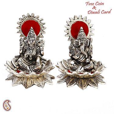 Silver Finish Laxmi Ganesh sitting on Lotus