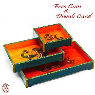 Aapno Rajasthan Beautiful & Stylish Set of 3 Trays