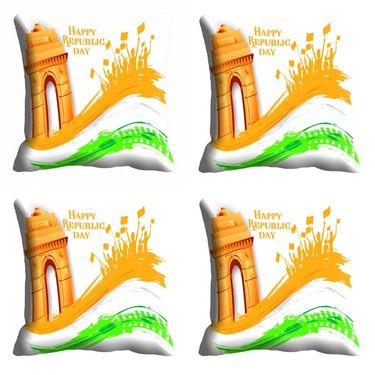 meSleep Happy Republic Day Cushion Cover (16x16) -EV-10-REP16-CD-049-04