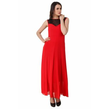 Fasense Power Net & Satin Solid Dresses  -FD001D2