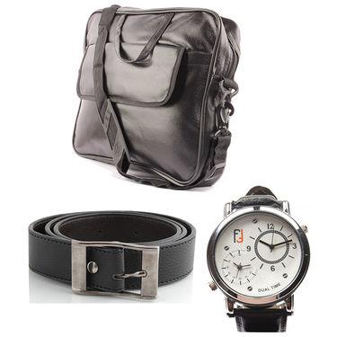 Fidato Laptop Bag + Fidato Black Belt + Fidato Men's Dual Time Watch
