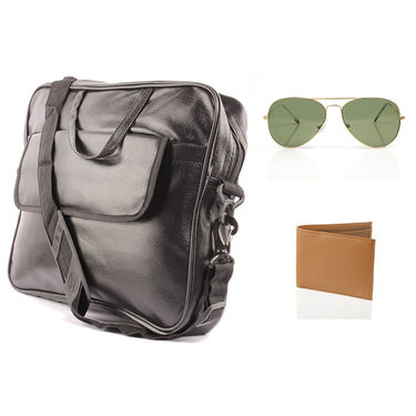 Fidato Laptop Bag + Fidato Golden Aviator + Fidato Tan Leatherite Wallet
