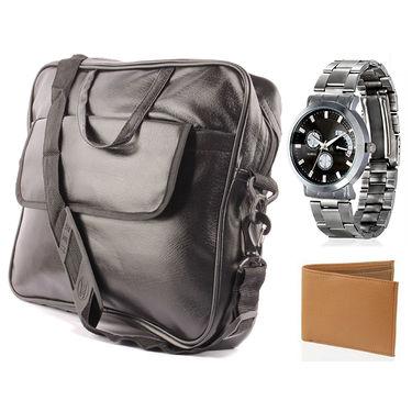 Fidato Laptop Bag + Fidato Men's Steel Watch + Fidato Tan Leatherite Wallet
