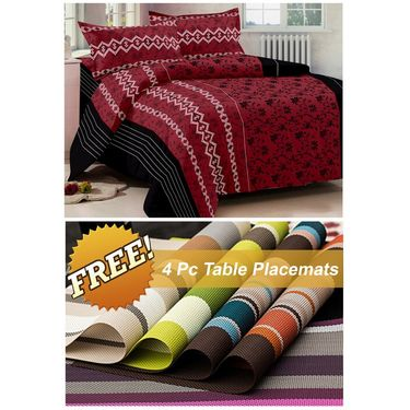 Storyathome Red Printed 1 Double Bedsheet With 2 Pillow Cover -FE1102_TT
