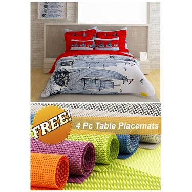 Storyathome White Abstract 1 Double Bedsheet With 2 Pillow Cover -FE1124_TT