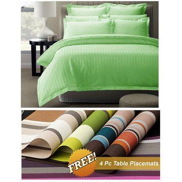 Storyathome Green Satin Stripes King Size 1 Bedsheet + 2 Pillow Cover -FE2060_TT